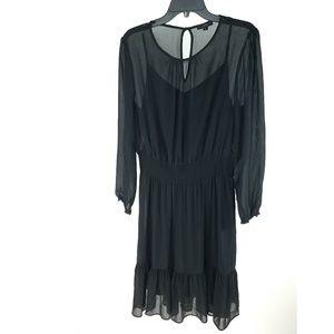 NEW J Crew Black Sheer Cinched Chiffon Dress